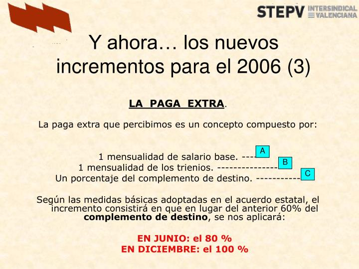 Y ahora… los nuevos incrementos para el 2006 (3)