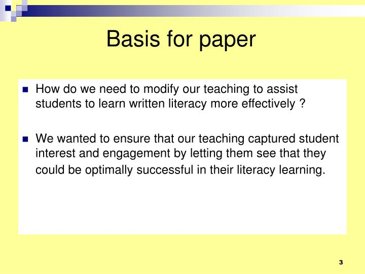 Basis for paper