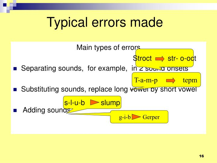 Typical errors made