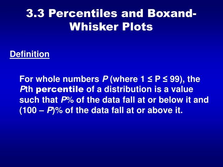 3.3 Percentiles and BoxandWhisker Plots
