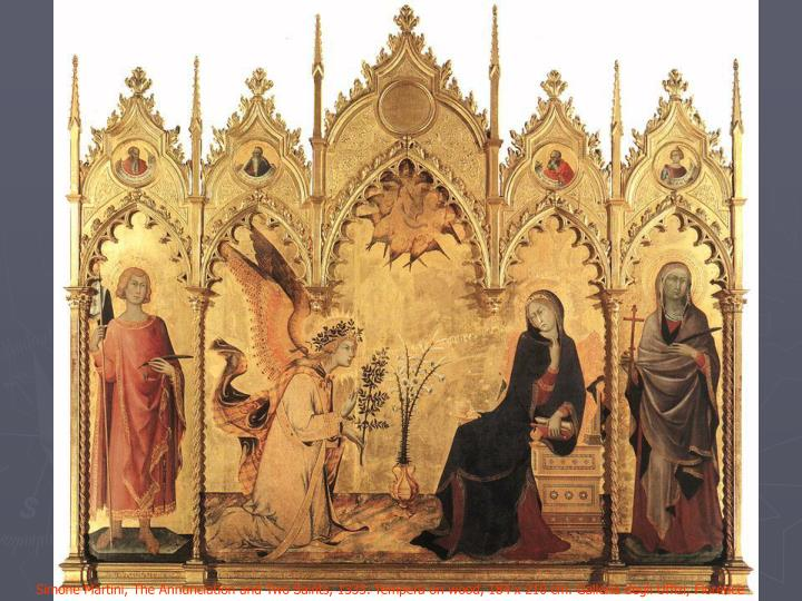 Simone Martini, The Annunciation and Two Saints, 1333. Tempera on wood, 184 x 210 cm. Galleria degli Uffizi, Florence