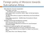 foreign policy of morocco towards sub saharan africa2