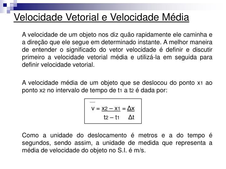 Velocidade Vetorial e Velocidade Média