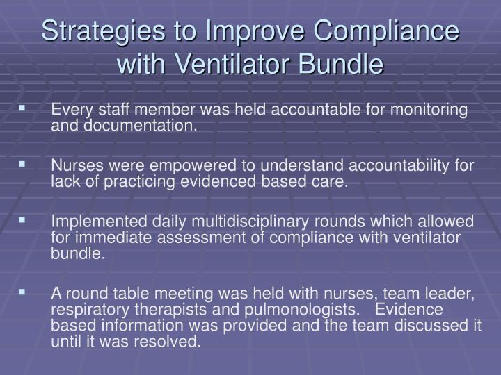 Strategies to Improve Compliance with Ventilator Bundle