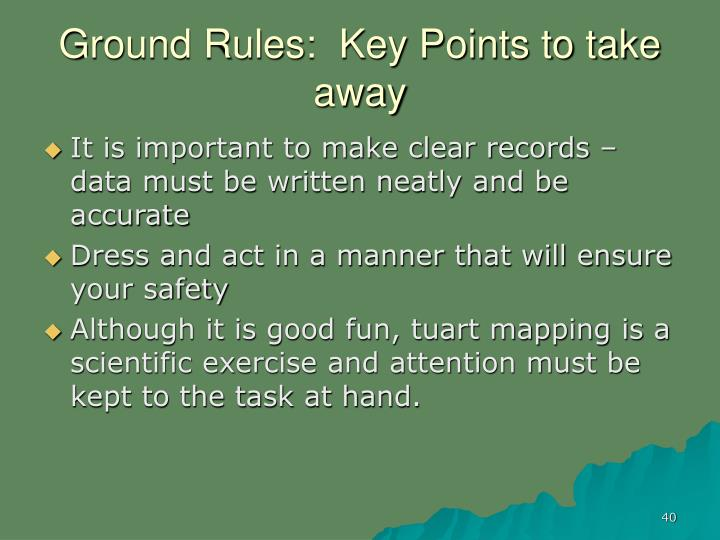 Ground Rules:  Key Points to take away