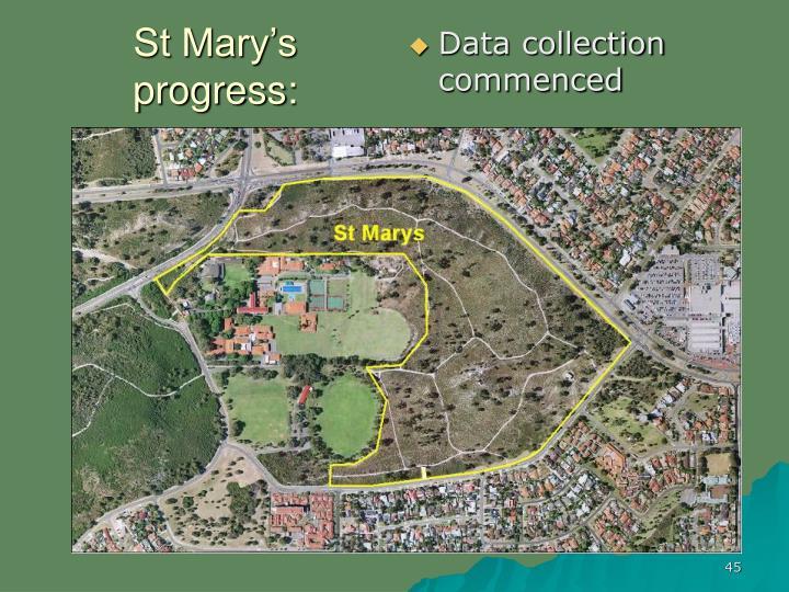 St Mary's progress: