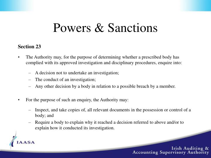Powers & Sanctions