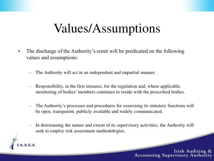 Values/Assumptions