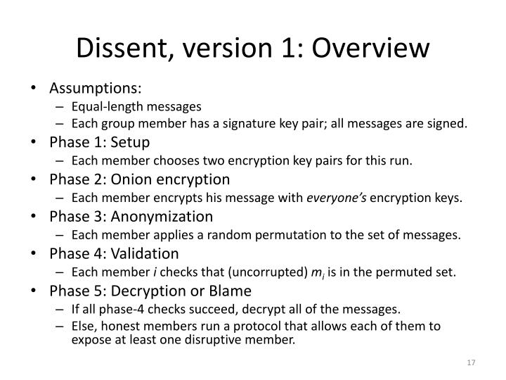 Dissent, version 1: Overview