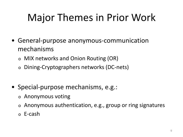 Major Themes in Prior Work