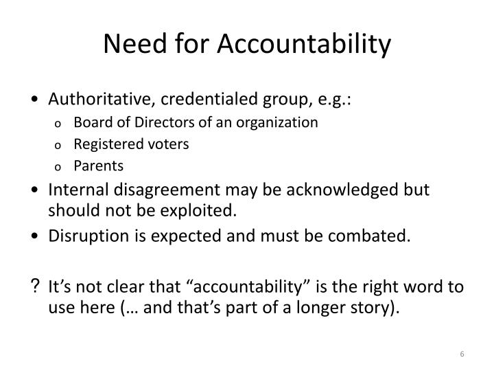 Need for Accountability