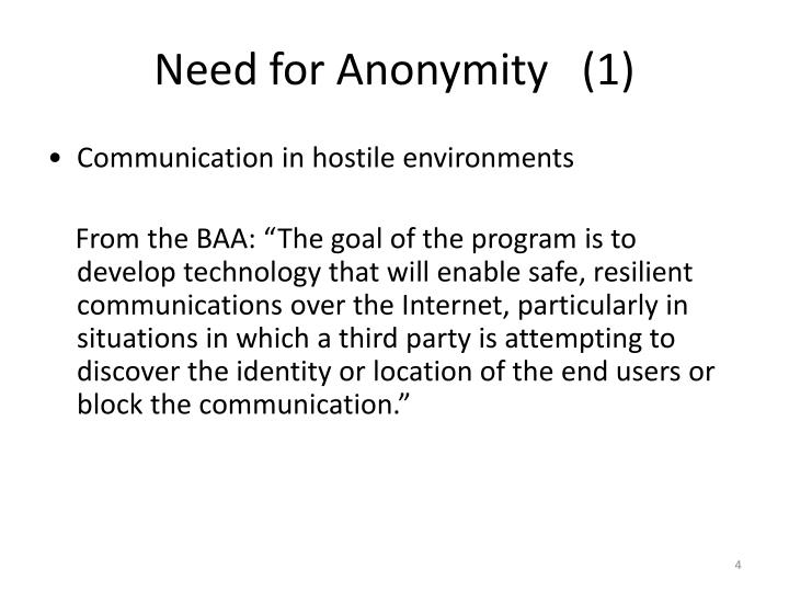 Need for Anonymity   (1)