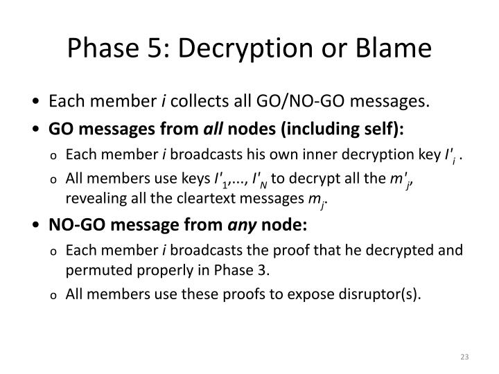 Phase 5: Decryption or Blame
