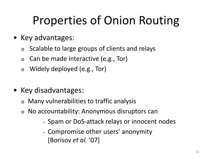 Properties of Onion Routing