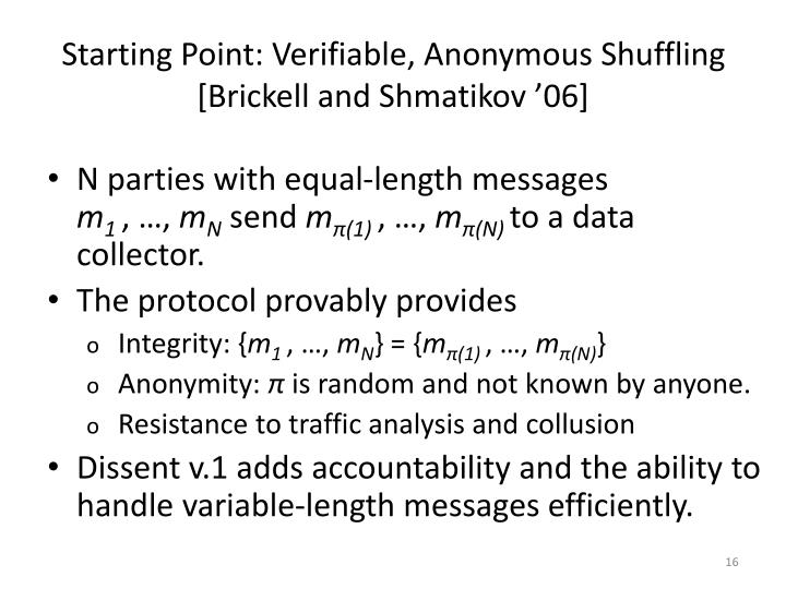 Starting Point: Verifiable, Anonymous Shuffling