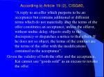according to article 19 2 cisg80