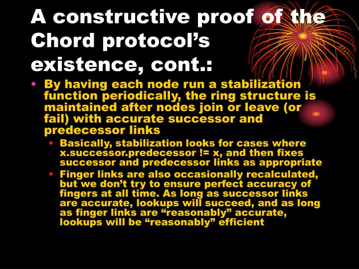 A constructive proof of the Chord protocol's existence, cont.: