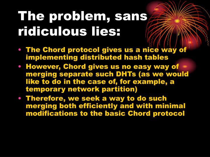 The problem, sans ridiculous lies: