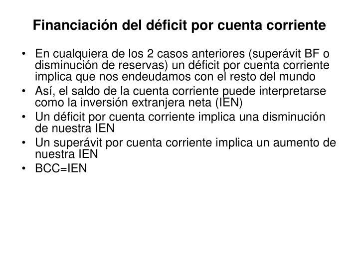Financiación del déficit por cuenta corriente