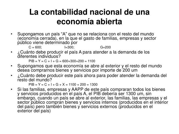La contabilidad nacional de una economía abierta