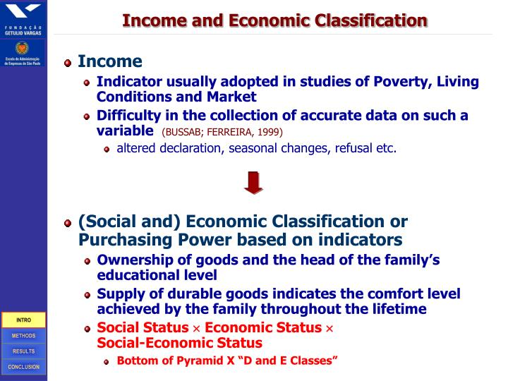 Income and Economic Classification