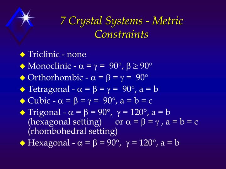 7 Crystal Systems - Metric Constraints
