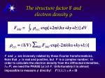 the structure factor f and electron density