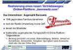 realisierung eines neuen vertriebsweges online plattform bennewitz com