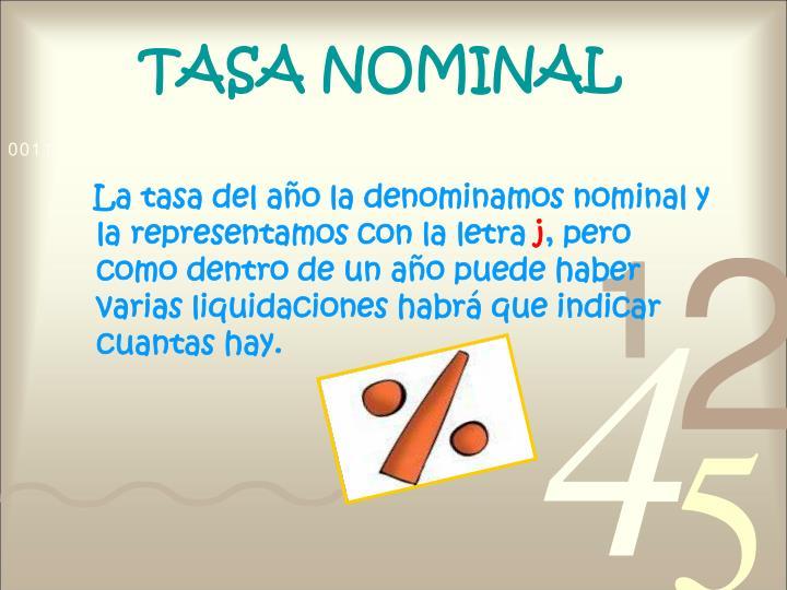 TASA NOMINAL