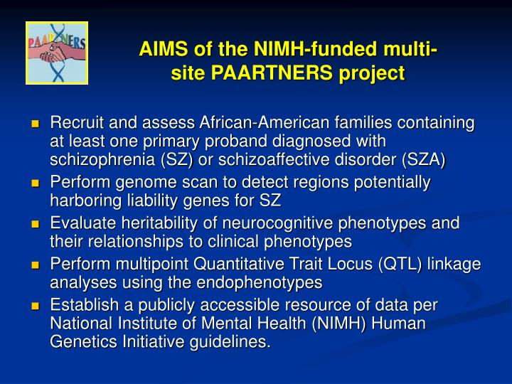 AIMS of the NIMH-funded multi-site PAARTNERS project