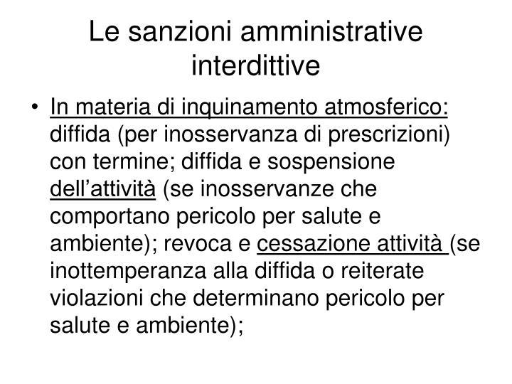 Le sanzioni amministrative interdittive
