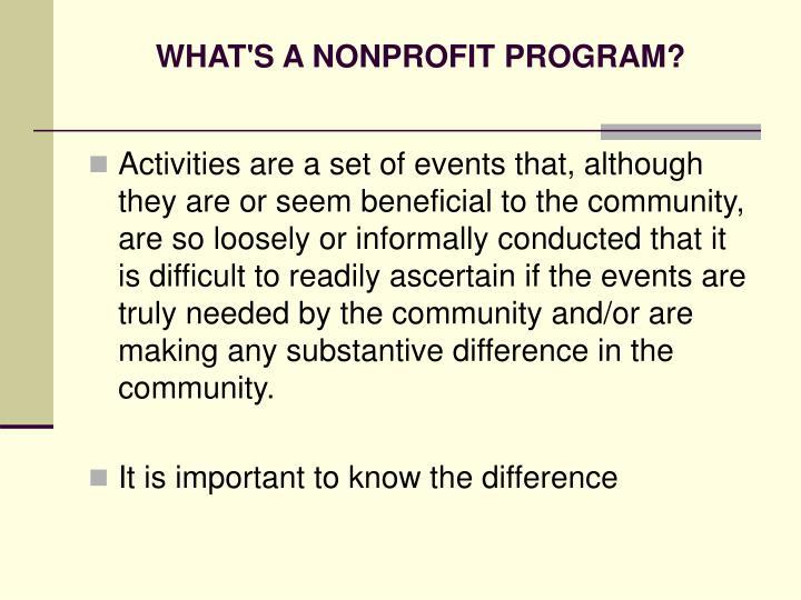 WHAT'S A NONPROFIT PROGRAM?