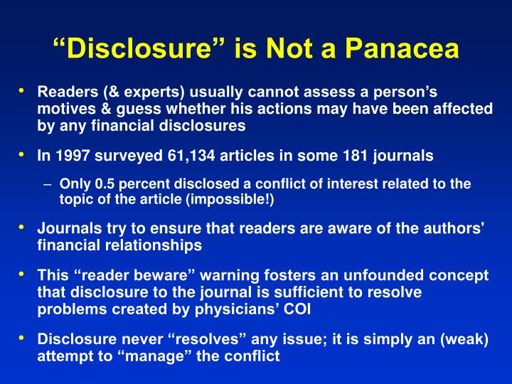 """""""Disclosure"""" is Not a Panacea"""