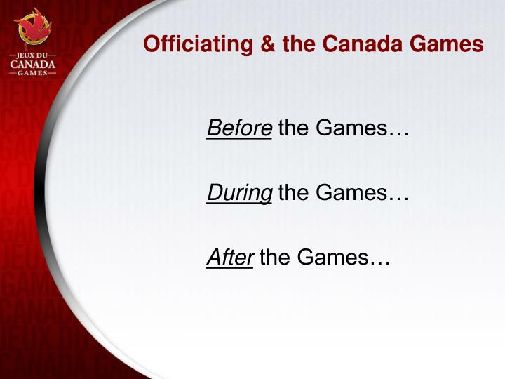 Officiating & the Canada Games