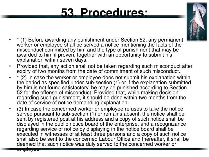 53. Procedures: