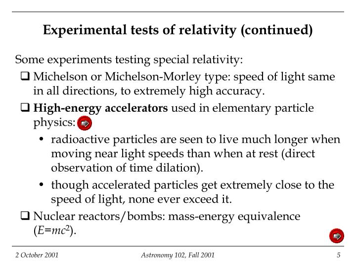 Experimental tests of relativity (continued)