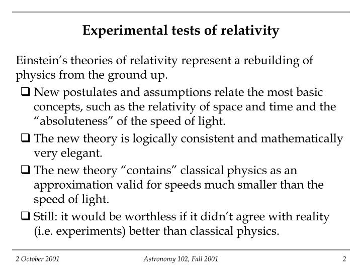 Experimental tests of relativity