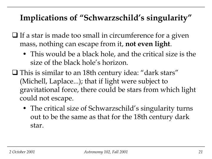 "Implications of ""Schwarzschild's singularity"""