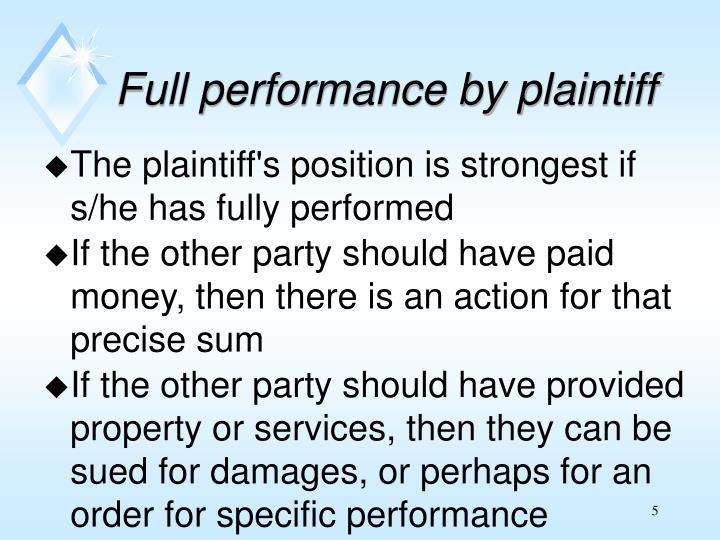 Full performance by plaintiff