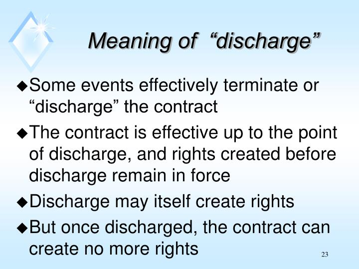 """Meaning of  """"discharge"""""""
