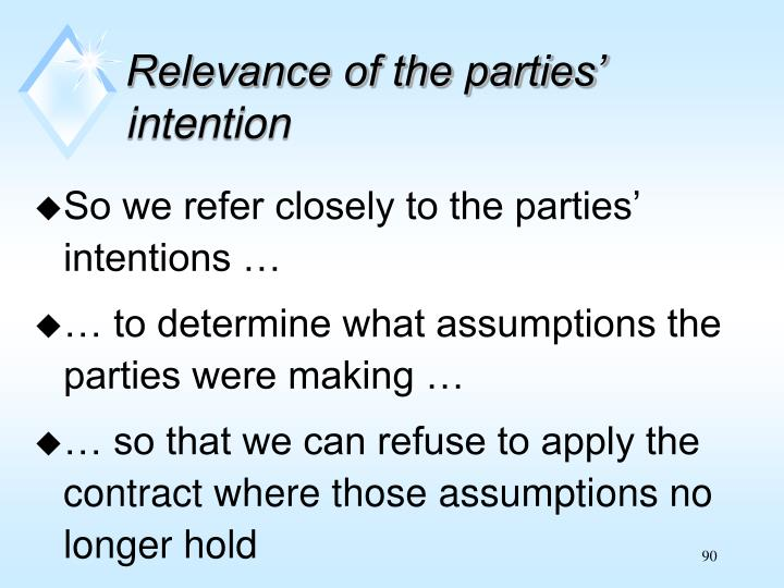Relevance of the parties' intention