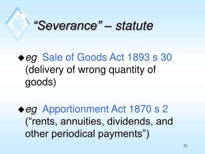 """Severance"" – statute"