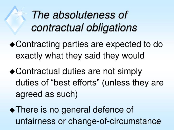 The absoluteness of contractual obligations