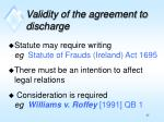 validity of the agreement to discharge