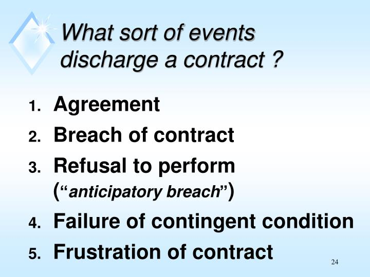What sort of events discharge a contract ?
