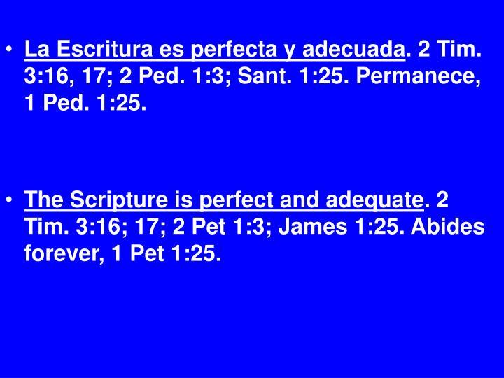 La Escritura es perfecta y adecuada