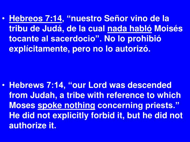 Hebreos 7:14
