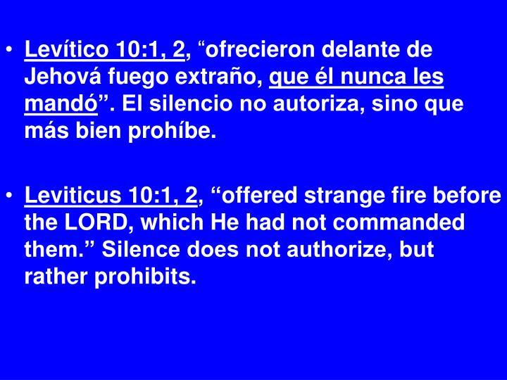 Levítico 10:1, 2