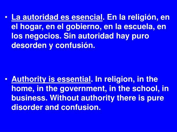 La autoridad es esencial