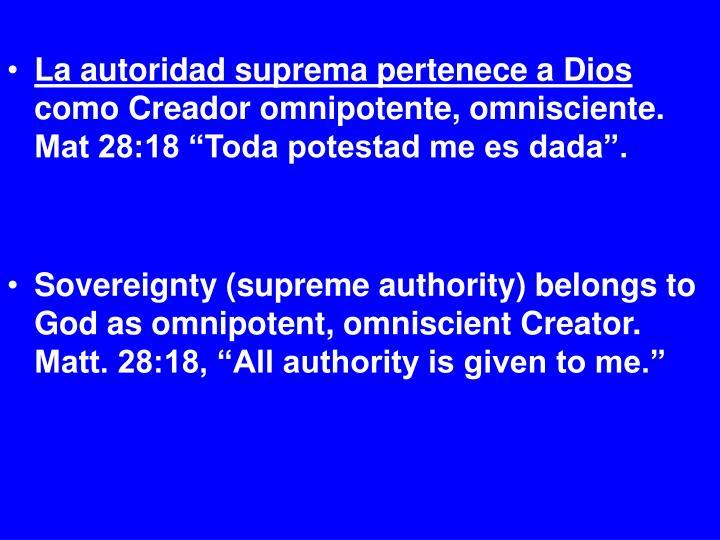 La autoridad suprema pertenece a Dios